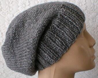 Charcoal gray slouchy hat, toque, winter hat, gray hat, mens womens knit hat, chemo cap, ski snowboard toboggan hat, biker hiking hat
