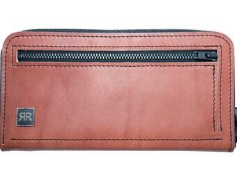 Zip-Around Brown leather Wallet
