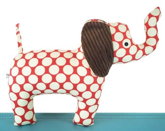 Baby Cloth Elephant Toy with Rattle - Spotty Red and Chocolate Brown - Baby - Toddler -  Child Friendly - Unisex New Baby Gift