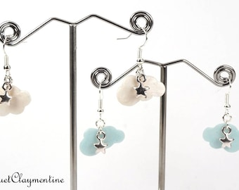 Cloud earrings and its star in polymer clay