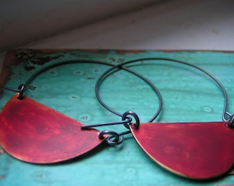 Red Patina Half Moon Earrings
