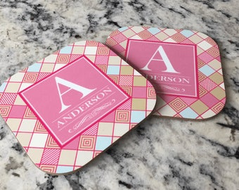 Personalized Full Color Coasters – Set of 2 - Checkerboard Style