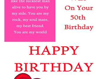 Wife 50 Birthday Card with removable laminate