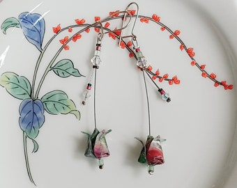 Green and pink Lotus origami - earrings