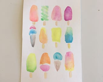 Popsicle Watercolor Print