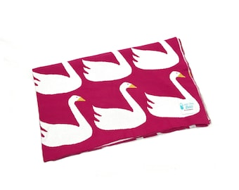Reversible Knitted Cotton Blanket/Throw - Swan