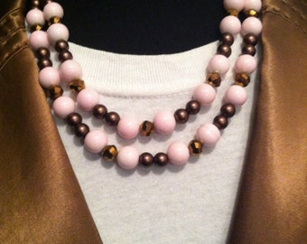 Pink Brown Two Strand Statement Necklace