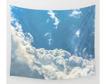 Wall Tapestry, Cloud Tapestry, Wall Hanging, Clouds Sky Heavens Nature Wanderlust, Wall Decor, Photo Wall Art, Modern Tapestry, Home Decor