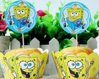 12 sets Sponge Bob  cupcake toppers and wrappers (12 toppers +12 wrappers ) Sponge Bob party decoration