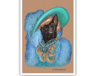 Black German Shepherd Art Print - Movie Star - Cute Dog Wall Art - Pets in Art - Whimsical Dog Portraits by Maria Pishvanova