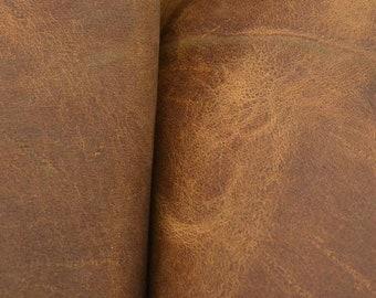 "Grunge Speckled Brown Leather Oil Tanned Cowhide 4"" x 6"" Pre-cut 5-5 1/2 oz  JA-9533 (Sec. 3,Shelf 6,D, Box 2)"