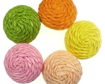 Raffia buttons cream 5 pcs