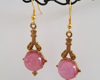 Pink Moonglow Earrings - Pink Drop Earrings -  Romantic Earrings -  Victorian Earrings