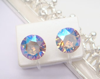 New color!Lt. Colorado Topaz Shimmer Swarovski crystal,Invisible clip on earrings, Clip On Earrings,non pierced earring,Clip-ons,gift