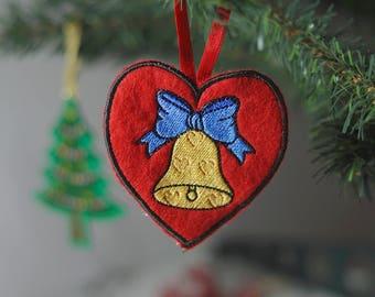 Heart Christmas Ornament, Felt Heart Ornament, Felt Heart Christmas Ornament, Felt Heart Decoration, Heart Christmas Decor, FREE SHIPPING