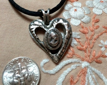 Sterling Cameo Heart Pendant Necklace