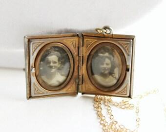 Vintage Black Cameo Locket Necklace, Book Locket, Photo Locket, Circa 1940's