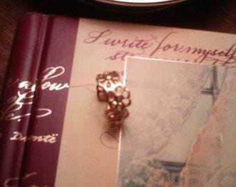 Wide Flower Band Ring with Iolite Stone Gold over Sterling