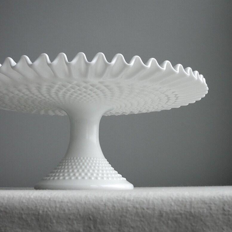 🔎zoom & Vintage Hobnail Milk Glass Wedding Cake Stand by Fenton