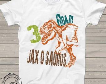 Dinosaur birthday shirt for kids personalized t-rex tshirt 3rd bday 1st, 2nd, 4th, 5th, 6th any birthday dino theme party shirts boys girls
