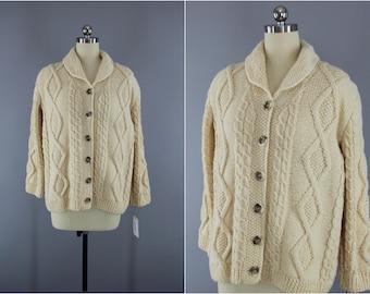1960s Vintage Wool Cardigan Sweater / 60s IRISH Fisherman's Sweater / Ivory Cream Wool Jumper / Ireland