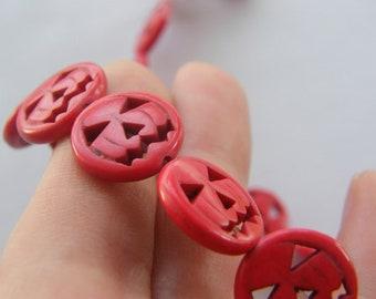 26  Red pumpkin jack o lantern beads SK4
