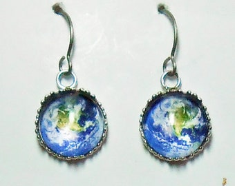 Earth From Space Earrings Titanium Hypoallergenic