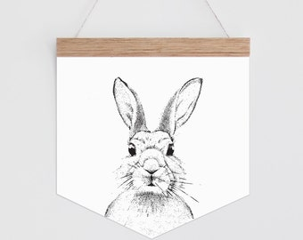Wall Banner - Dot Monochrome Bunny. Wall hanging.