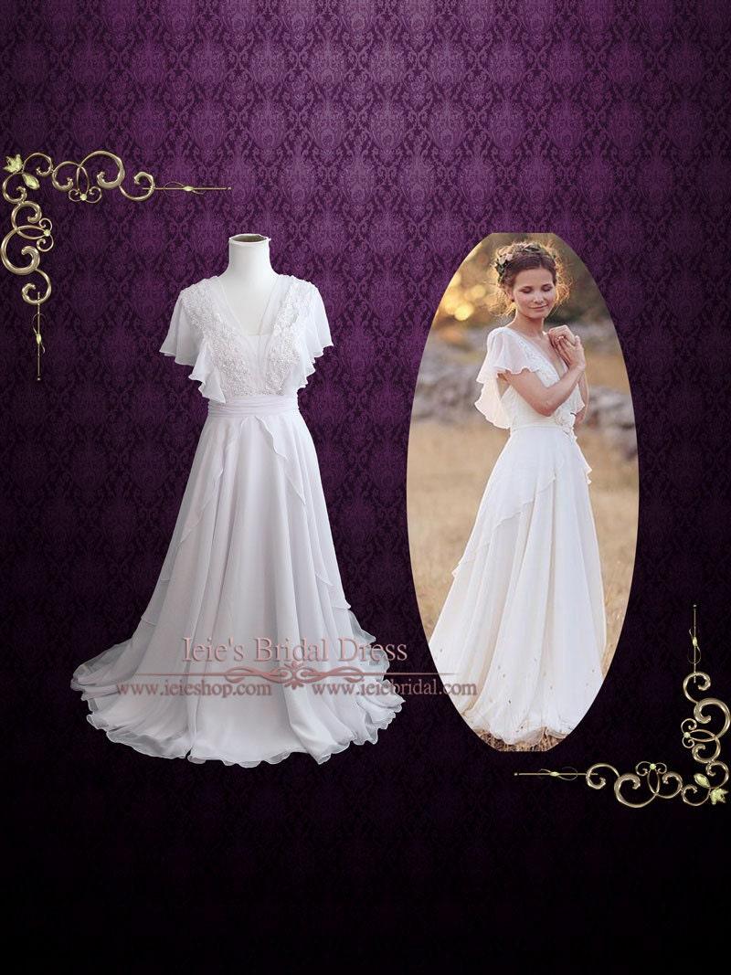 Skurril Grecian Chiffon Brautkleid mit Schmetterling Sleeves