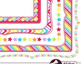 Rainbow Frame Clip Art, Border Paper, Digital Page Borders Clipart, Bracket