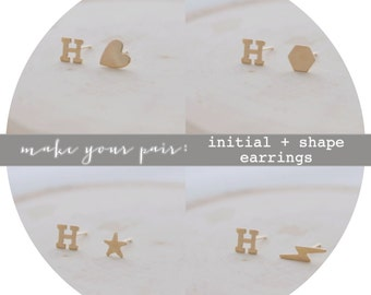 Mix + Match Earrings // Initial + Choice of Shape Earrings // 14k Gold Filled or Sterling Silver