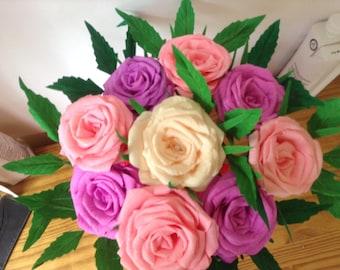 Crepe paper rose bouquet