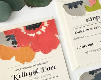 Handcrafted Fabric Wedding Invitation - Sample Set