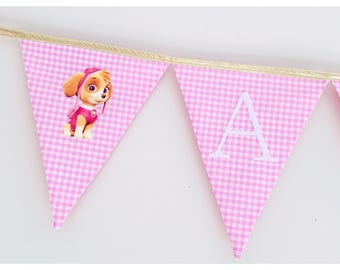 Pink and gold Paw Patrol Skye inspired Fabric bunting banner