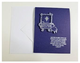 Metallic Manger Card - 1 card with matching envelope