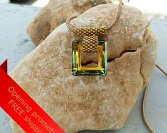Swarovski Jewelry, Swarovski Crystal, Swarovski Necklace, Swarovski Pendant, Swarovski Pendant Necklace, Swarovski Square