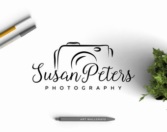 Hand drawn Photography logo, Premade Photography Logo Design, Camera logo