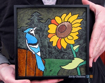 Blue Jay and Sunflower- Paper Tile Mosaic- Mini- Original Art- Unique Process- Country Art- Bird Art- Nature Art- Mosaic Art- Paper Art