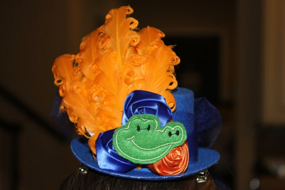Florida Gators Fascinator,  Handmade, Mini Top Hat,Alligator Hat,Spirit Hat, Orange Blue Hat, Football Spirit , Gator Costume Hat