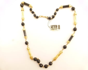 HOBE Black Glass and Gold Bars Beaded Necklace With Original Tag - NOS