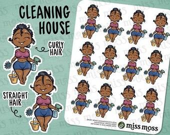 Brown Skin Cleaning House Chores Planner Stickers, African American Black - Erin Condren, Happy Planner, Kikki K, Filofax, Decorative