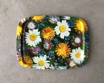 Large Vintage Bright Floral Metal Platter | Serving Tray | Daisies | Marigolds | 1960's