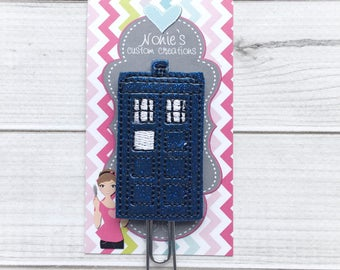Tardis Paper Clip- Dr Who Paper Clip - Planner Accessories - Tardis Feltie- Planner Paper Clips - Planner Accessory - Doctor Who Inspired