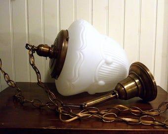 Antique / Vintage Brass Ceiling Fixture * Milk Glass Swag Lamp * LARGE Art Deco Pendant Light