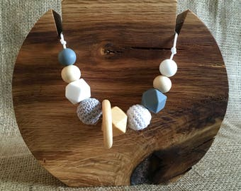 Breastfeeding Teething Sensory Necklace Stylish Mama Grey