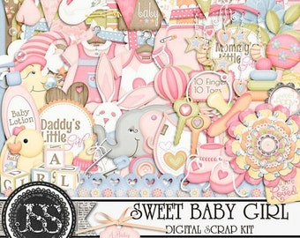 On Sale 50% Off Sweet Baby Girl Digital Scrapbook Kit for Digital Scrapbooking and Paper Crafting