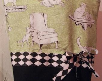 Green Argyle Mischief Cats Kittens Retro Purse Tote BAG or Diaperbag