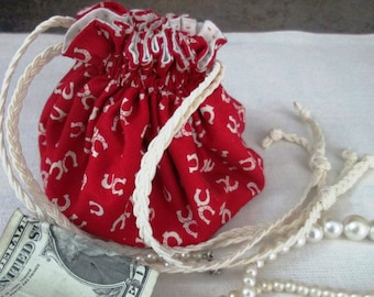 Hand Made Jewelry/Mini Travel Purse/Pouch with Drawstring - Horseshoes