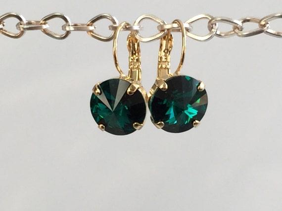 Emerald Swarovski Crystal Earrings, Yellow Gold