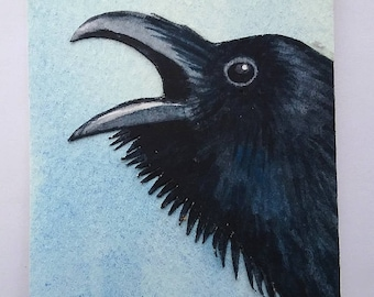 The Raven: The Trickster. (ACEO)(Watercolor_Collage)(Hand Cut)